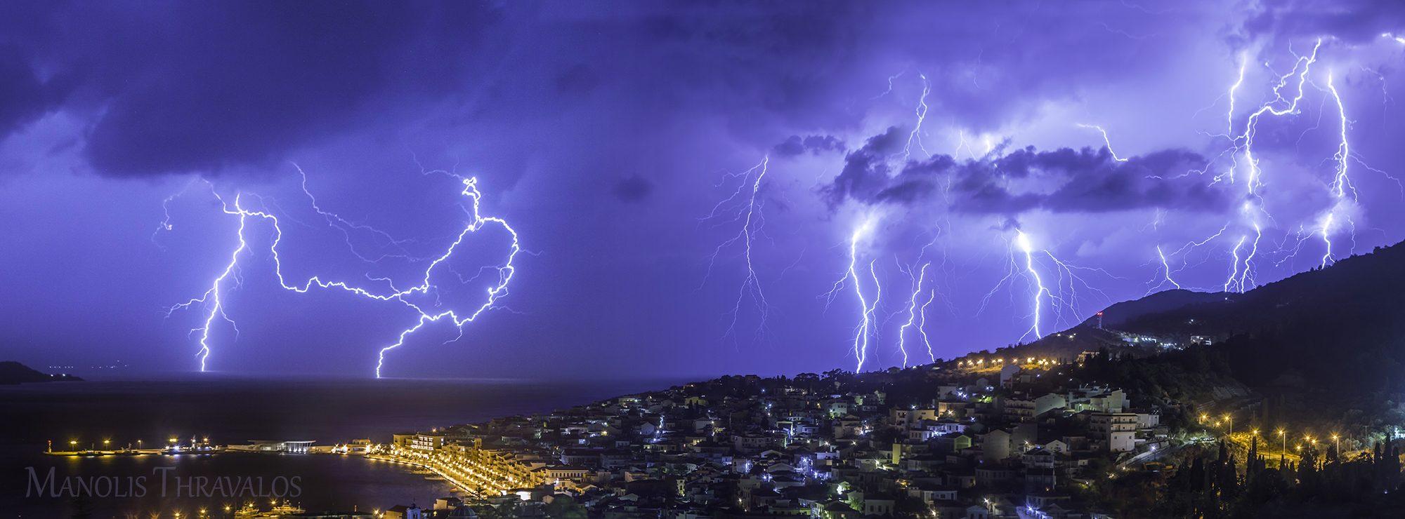Καταιγίδα - Πανόραμα πάνω από την πόλη της Σάμου