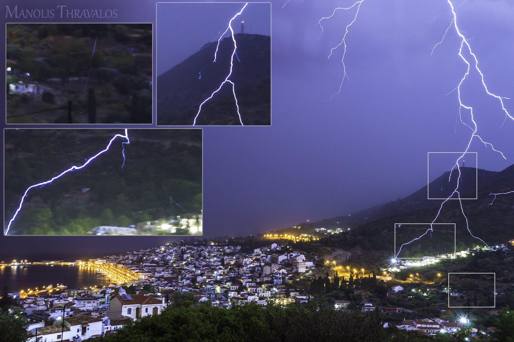 Καταιγίδα - Κοντινός κεραυνός με εκπληκτική λεπτομέρεια στην αποτύπωση